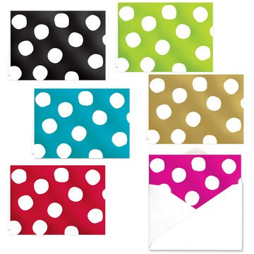 Foil Polka Dot Note Card Assortment Pack - Set of 24 cards - 4 designs, blank inside - with White envelopes