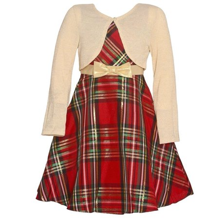 Rare Editions Baby Girls Red Tartan Bolero Tea-Length Christmas Dress](Tarzan Dress)