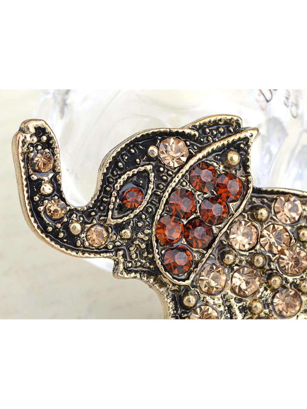 Antique-Inspired Bronze Brass Tone Topaz Crystal Rhinestone Elephant Pin Brooch by