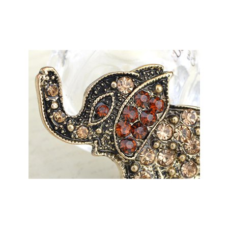Antique-Inspired Bronze Brass Tone Topaz Crystal Rhinestone Elephant Pin Brooch
