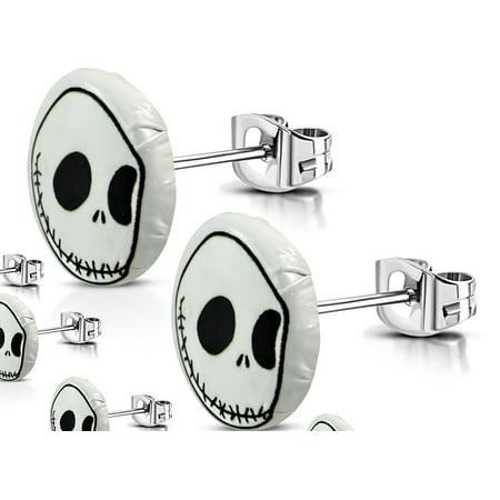 10mm Stainless Steel 2 tone Jack Skellington Halloween Round Stud Earrings Pair
