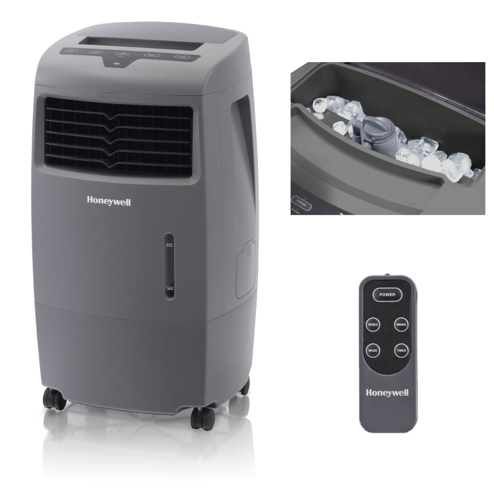 Honeywell CO25AE 500 CFM 300 sq. ft. Indoor/Outdoor Portable Evaporative Air Cooler (Swamp Cooler) with Remote Control, Gray