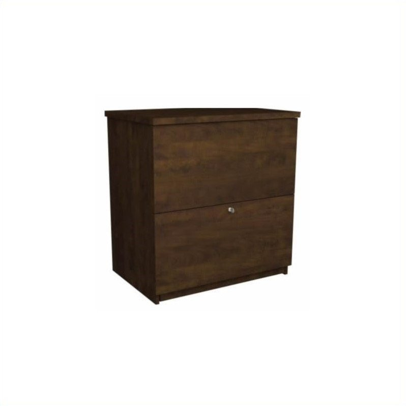 Bestar 2 Drawer Lateral Wood Lockable Filing Cabinet, Brown by Bestar
