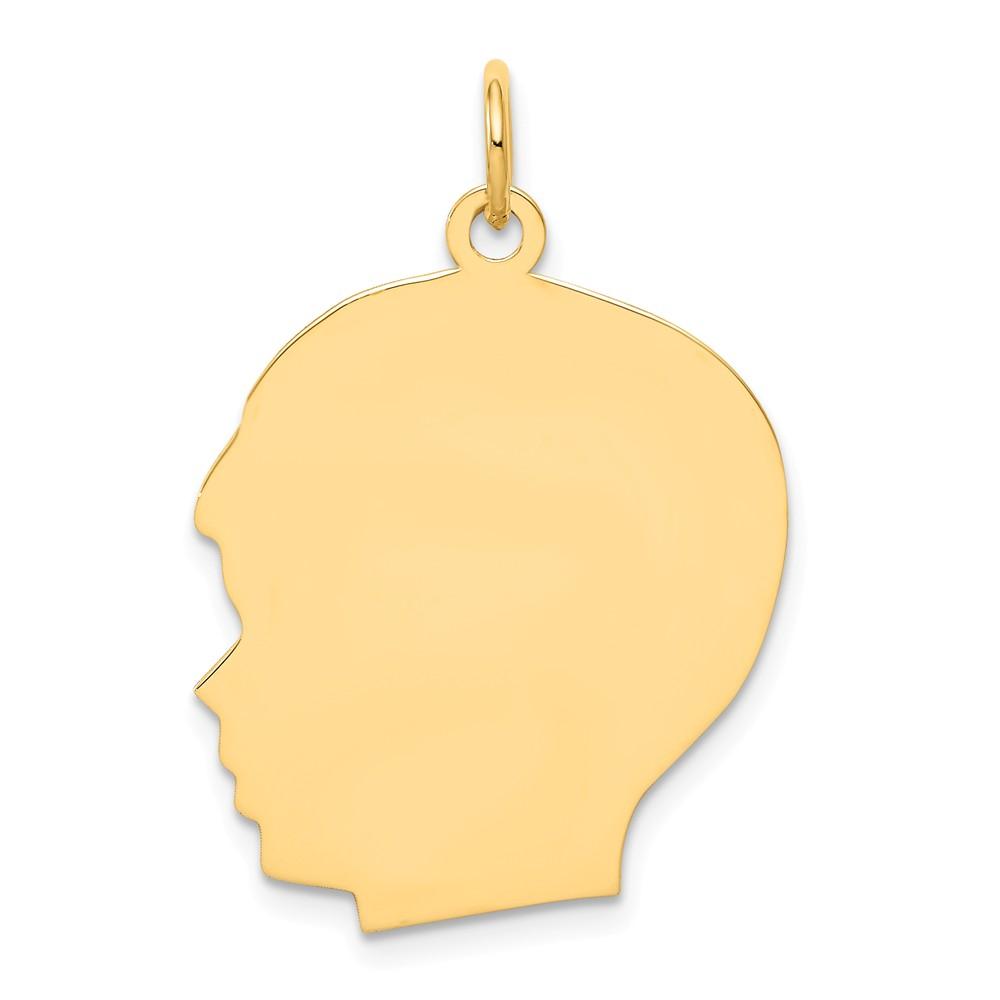14k Yellow Gold Large 0.035 Gauge Facing Left Engravable Boy Head Charm Pendant