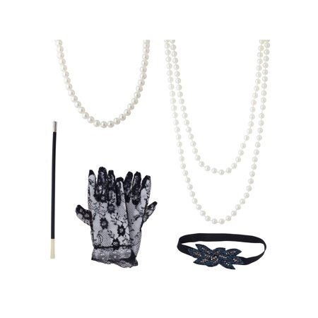 Lux Accessories Black White Lace Glove Side Headwear Long Pearl Necklace Costume