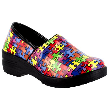 Easy Works by Easy Street Lyndee Slip Resistant Clog (Women's) Womens Professional Patent Clogs