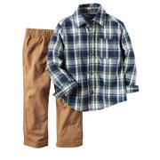 Carters Infant & Toddler Boys Blue Plaid Baby Outfit Shirt & Khaki Pants Set