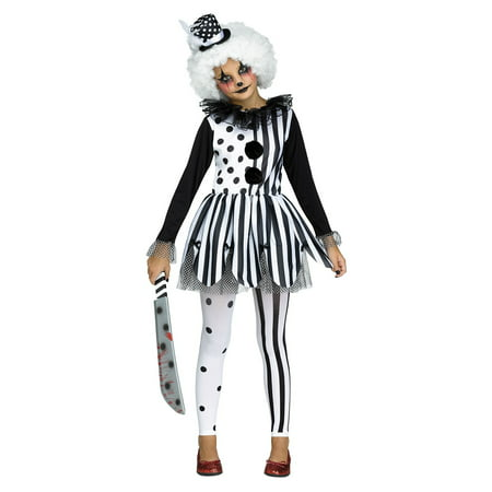 Girls Freak show Killer Clown Tutu Dress and Hat Halloween Tights Child Costume](Kids Killer Clown Costume)