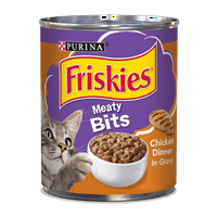 (4 Pack) Purina Friskies Meaty Bits Chicken Dinner in Gravy Wet Cat Food - 13.5 oz. Can