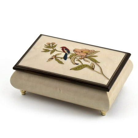Incredible Handcrafted Ivory Music Box with Bird and Flower Inlay - Funiculi Funicula