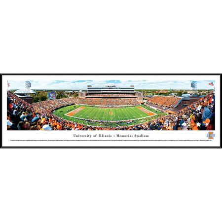 Illinois Football - 50 Yard Line at Memorial Stadium - Blakeway Panoramas NCAA College Print with Standard Frame