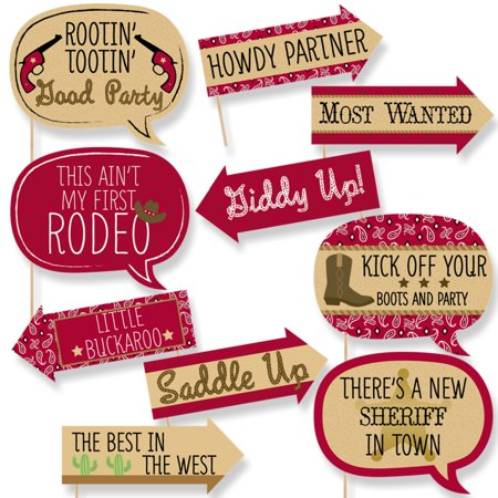 Funny Little Cowboy - Western Baby Shower or Birthday Party Photo Booth Props Kit - 10 Piece (Cowboy Theme Parties)