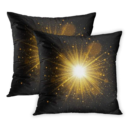 ECCOT Gold Golden Glow Light Effect Star Burst Sparkles Explosion Magic Flare Spark Black PillowCase Pillow Cover 20x20 inch Set of 2 (Foods That Glow Under Black Light)