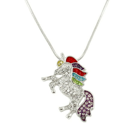 Unicorn Pendant Necklace Rhinestone Crystal Rhodium High Polished J0132 - Unicorn Necklace