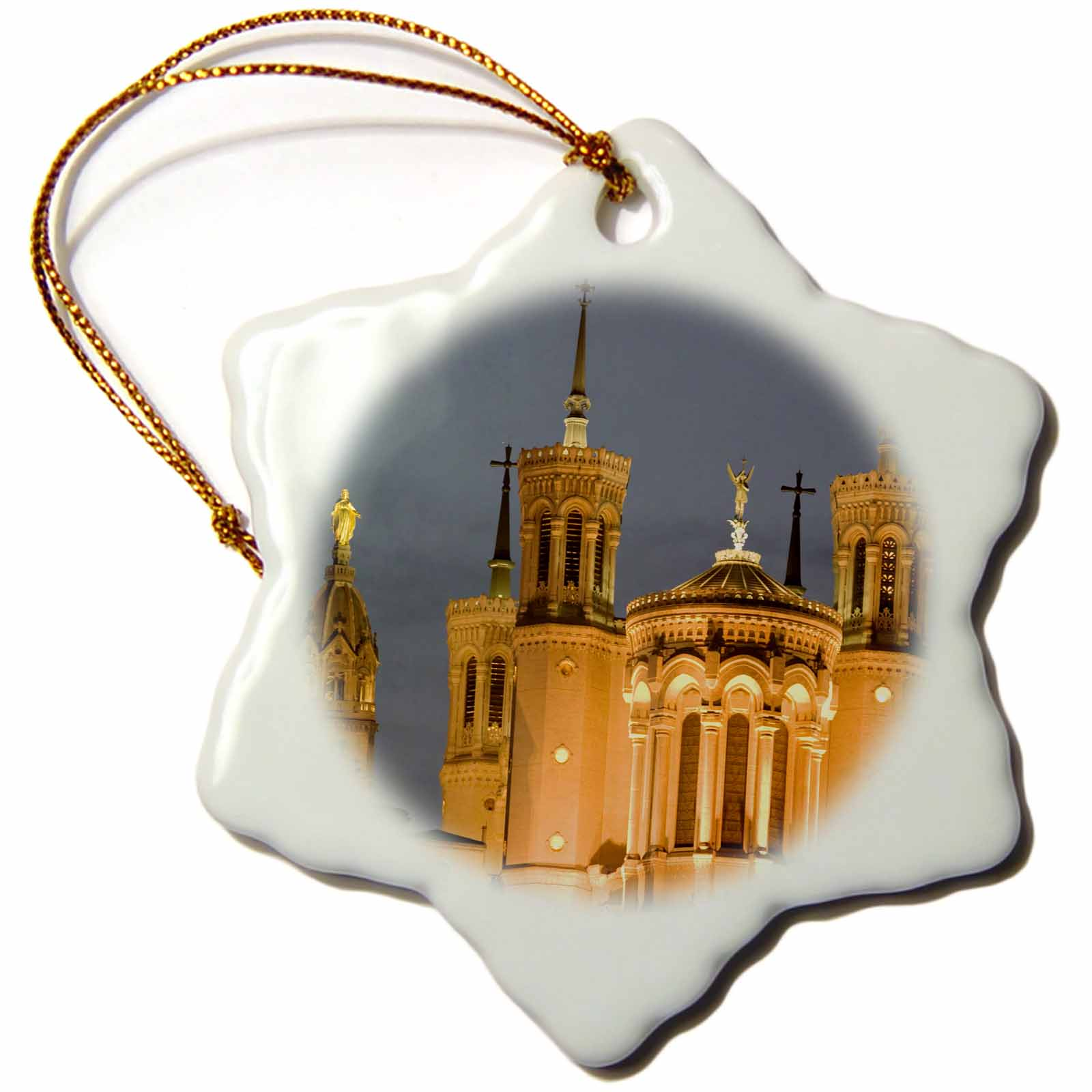 3dRose Cathedral, Notre Dame de Fourviere, Lyon, France - EU09 DBN0402 - David Barnes, Snowflake Ornament, Porcelain, 3-inch