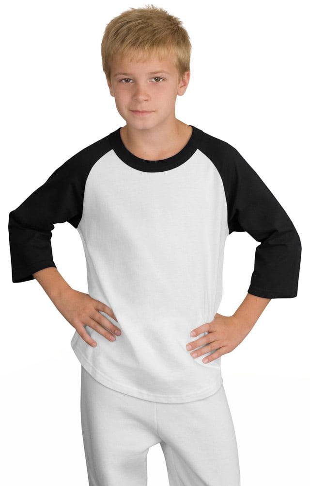 Sport-Tek YT200 Boys Colorblock Jersey T-Shirt - White/Black - X-Small