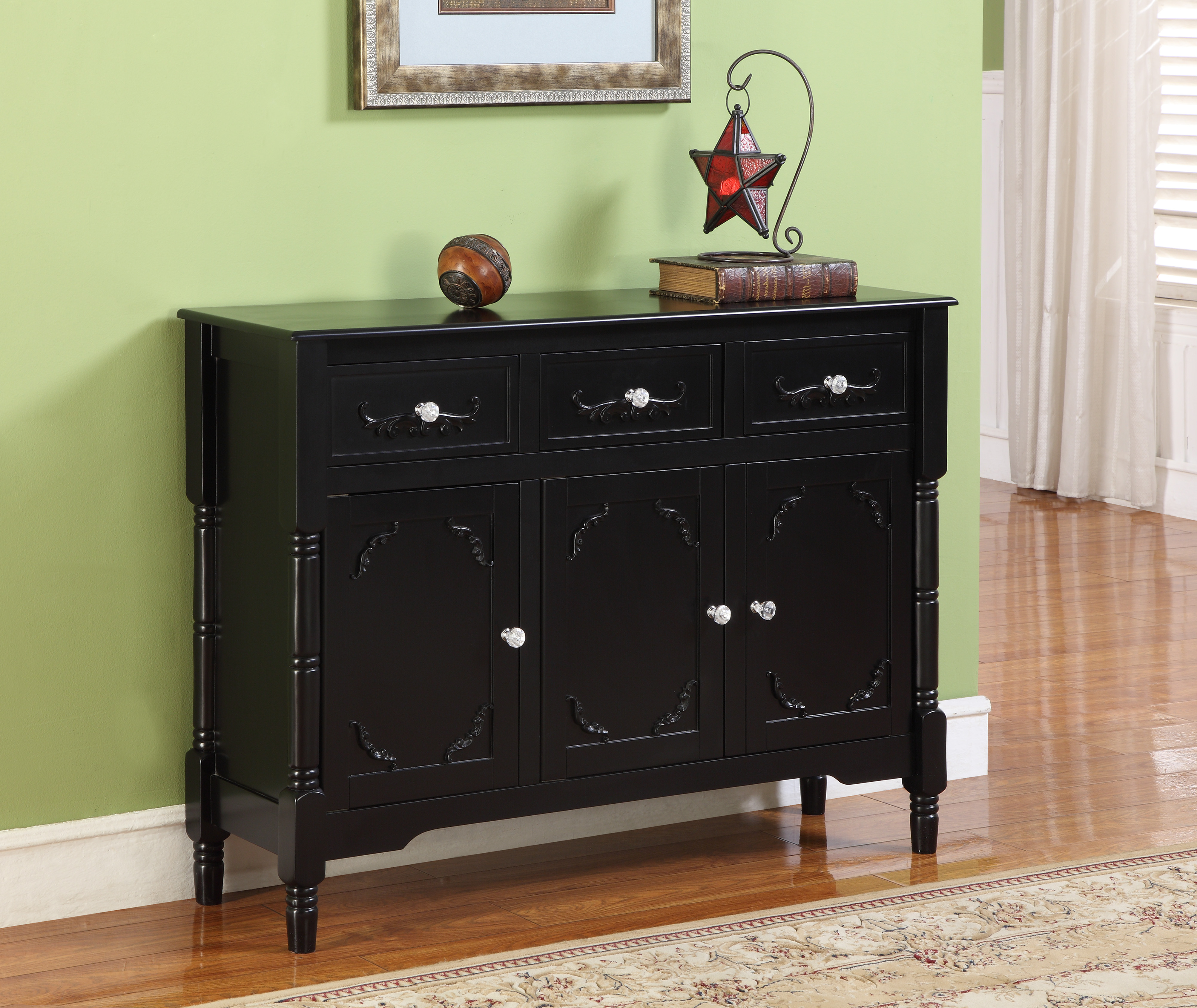 Charmant Camden Black Wood Contemporary Sideboard Buffet Display Console Table With  Storage Drawers U0026 Doors Image 1