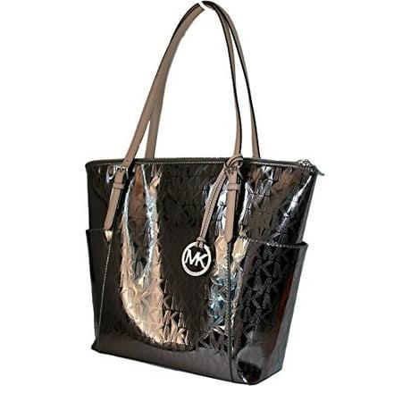 bcb04c4699cd Michael Kors Mk Signature Mirror Metallic Jet Set Ew Top Zip Shoulder Bag  Tote Handbag