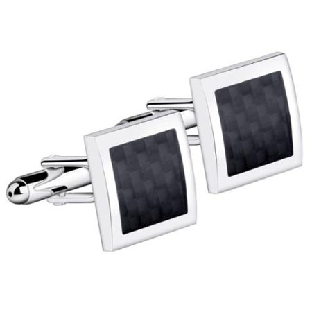 Mens Silver Frame And Black Pattern Vintage Wedding Party Birthday Gift Novelty Shirt Cuff links