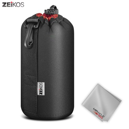 Zeikos Large Size Lens Case Pouch for DSLR Camera Lens + Free MiracleFiber Cleaning - Large Lens Case