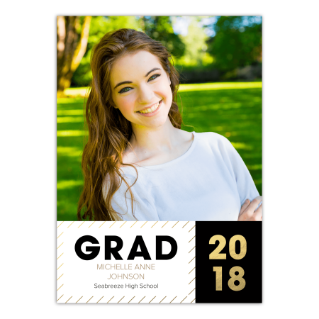 personalized graduation announcement hats off grad 5 x 7 flat