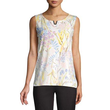 Sleeveless Floral-Print Top Calvin Klein Womens Sleeveless