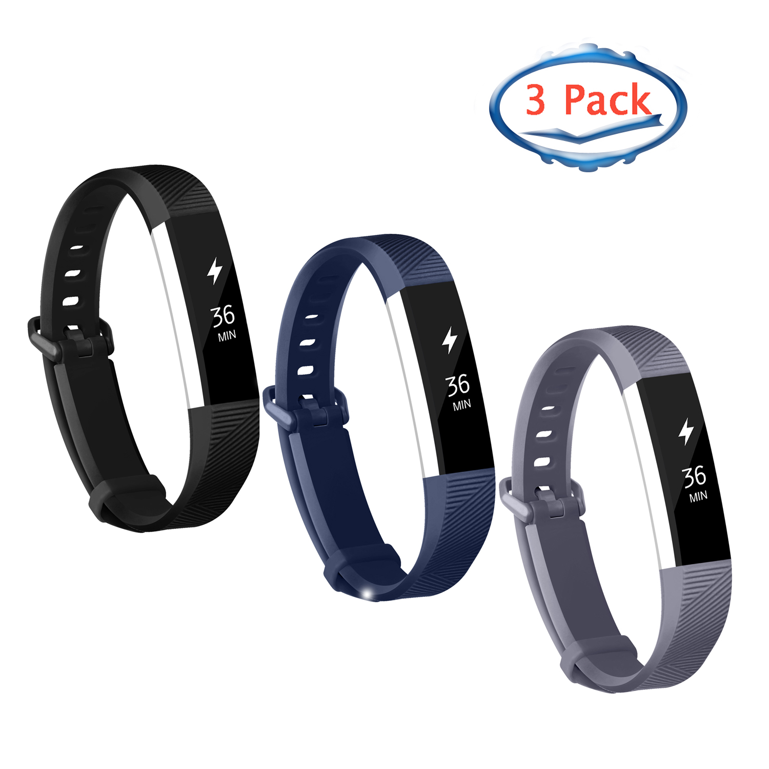 Adepoy 3-Pack Replacement Sport Wrist Strap Bands for Fitbit Alta/Fitbit Alta HR