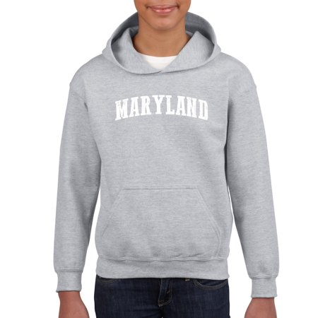 J_H_I MD Maryland Map Baltimore Flag Terrapins Terps Home University of Maryland  Youth Hoodies Sweater