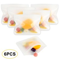 6Pcs Reusable Food Storage Bags Large Set of 6 Leak-Proof Freezer-Proof Bags Extra Thick PEVA Plastic