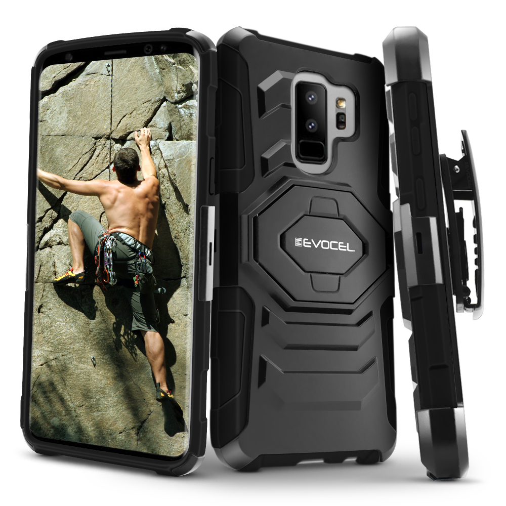 Galaxy S9 Plus Case, Evocel [New Generation] Rugged Holster Dual Layer Case [Kickstand] [Belt Swivel Clip] for Galaxy S9 Plus, Black (EVO-SJOPLUS-XX01)
