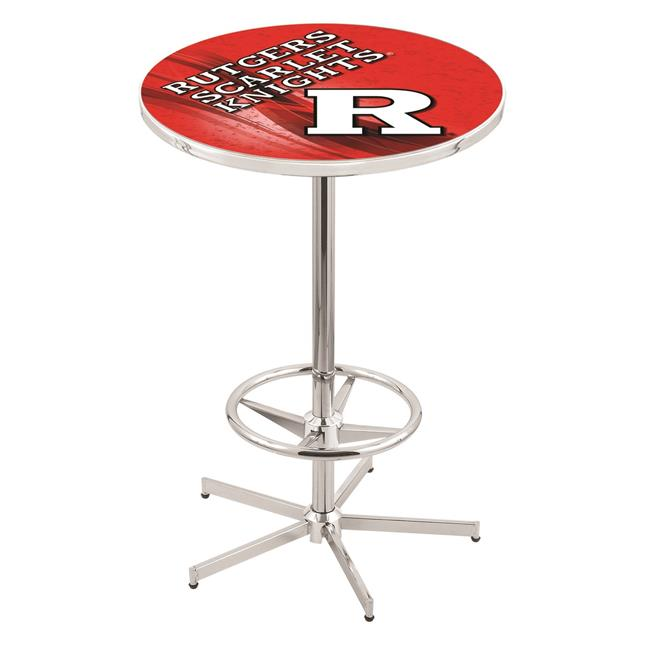 Holland Bar Stool L216C4236Rutger-D2 42 in. Rutgers Scarlet Knights Pub Table with 36 in. Top, Chrome - image 1 de 1