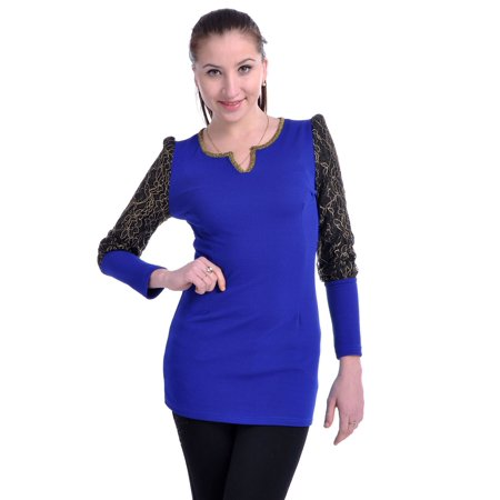 S/M Fit Blue and Black Metallic Gold Flower Pattern Sleeves Fitted Top