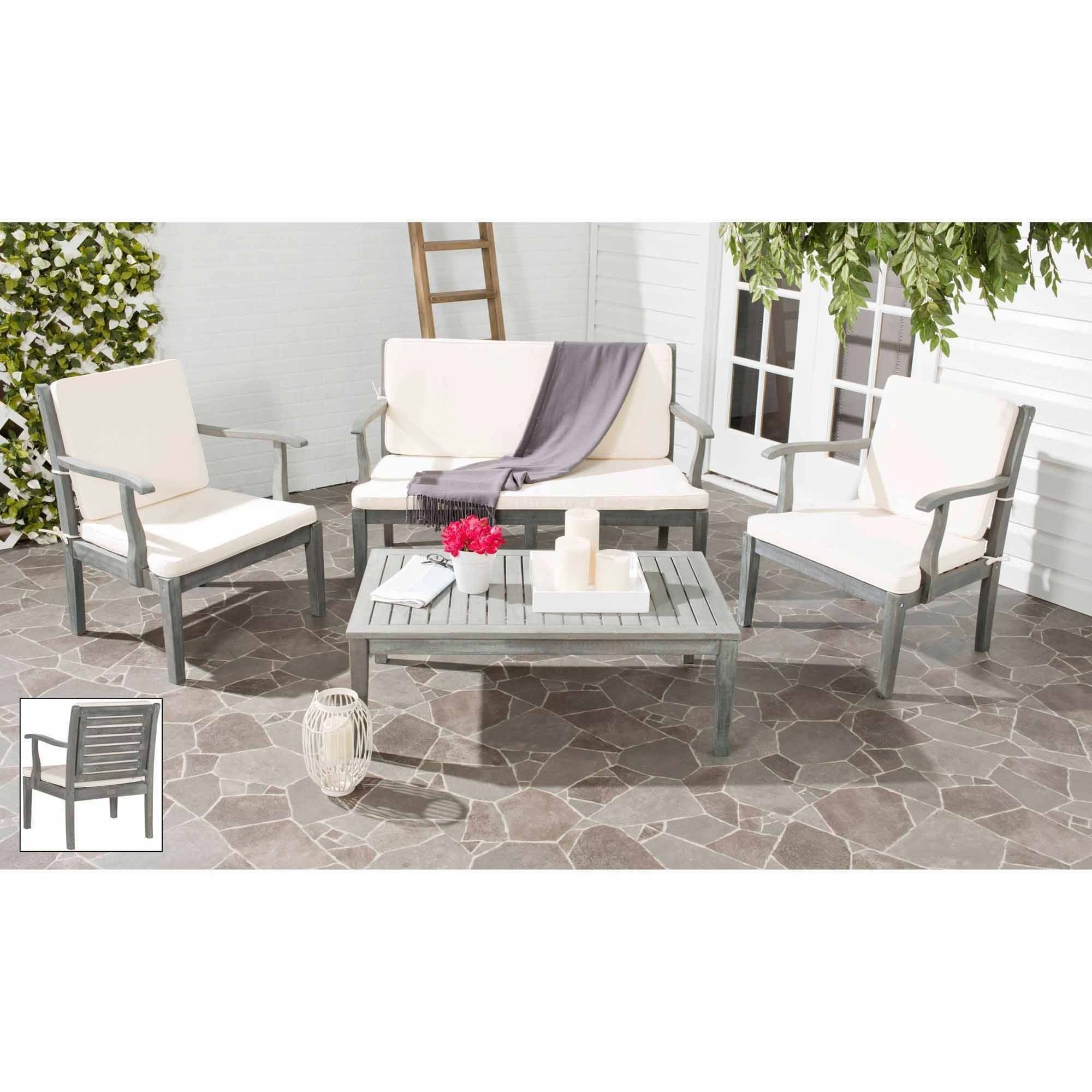 Safavieh Fresno 4-Piece Outdoor Living Set, Multiple Colors