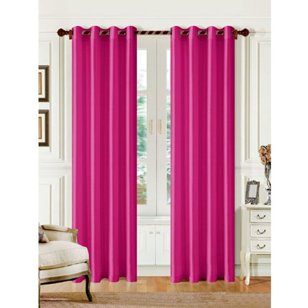 1 PANEL MIRA  SOLID HOT PINK SEMI SHEER WINDOW FAUX SILK  GROMMETS CURTAIN DRAPES 55 WIDE X 63
