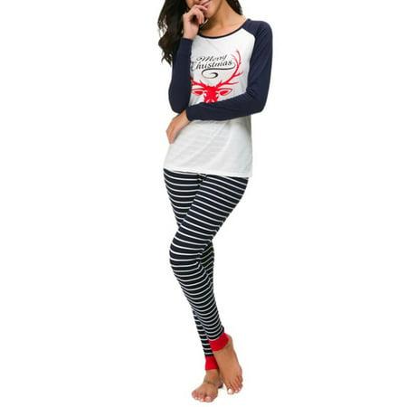 Julymona Plus Size 5XL Womens Christmas Print Nightwear Sleepwear Striped Pajamas 2-Pic Set ()