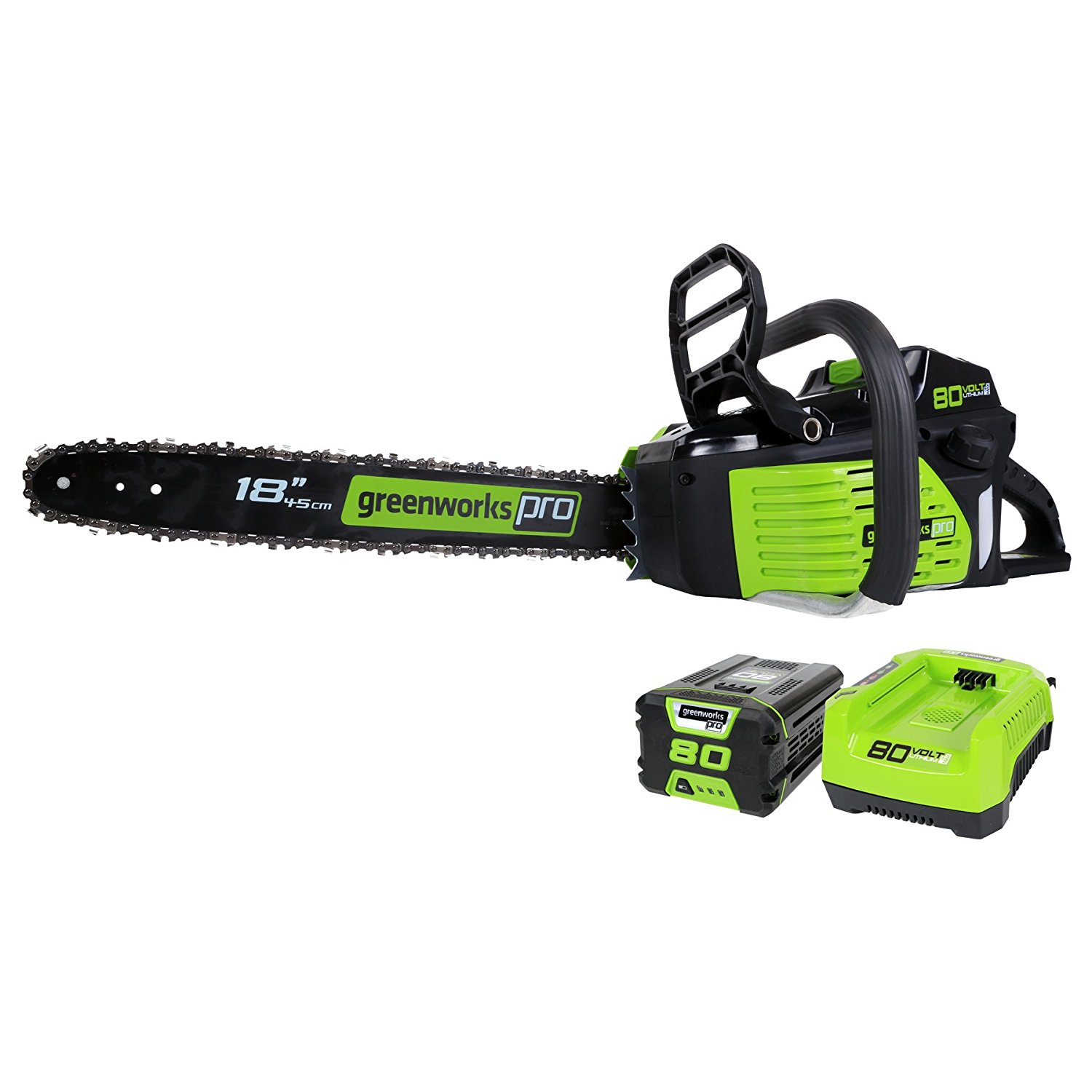 Greenworks Pro 18-Inch 80V Cordless Lithium-Ion Chainsaw, Battery and Charger Included GCS80421 by Sunrise Global Marketing, LLC