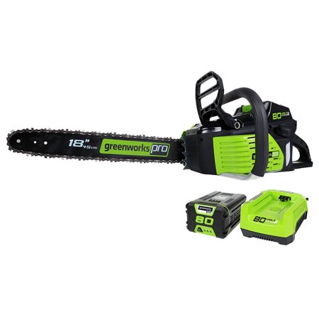 Greenworks Pro 18-Inch 80V Cordless Lithium-Ion Chainsaw, Battery and Charger Included