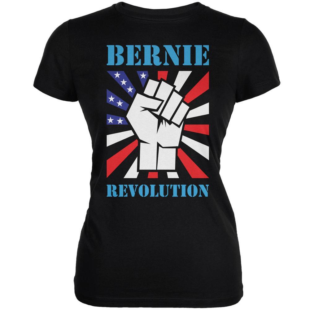 Election 2016 Bernie Sanders Raised Fist Revolution Black Juniors Soft T-Shirt
