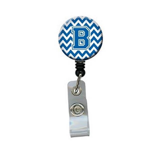 Letter B Chevron Blue & White Retractable Badge Reel, 5 x 1 x 2 in. - image 1 de 1