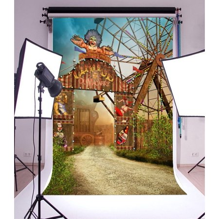 MOHome Polyster 5x7ft Photography Background Fantasy Circus Colorful Entrance Gate Clown Broken Carriage Theme Backdrops Portraits Shooting Video Studio Props - Circus Themed Backdrop