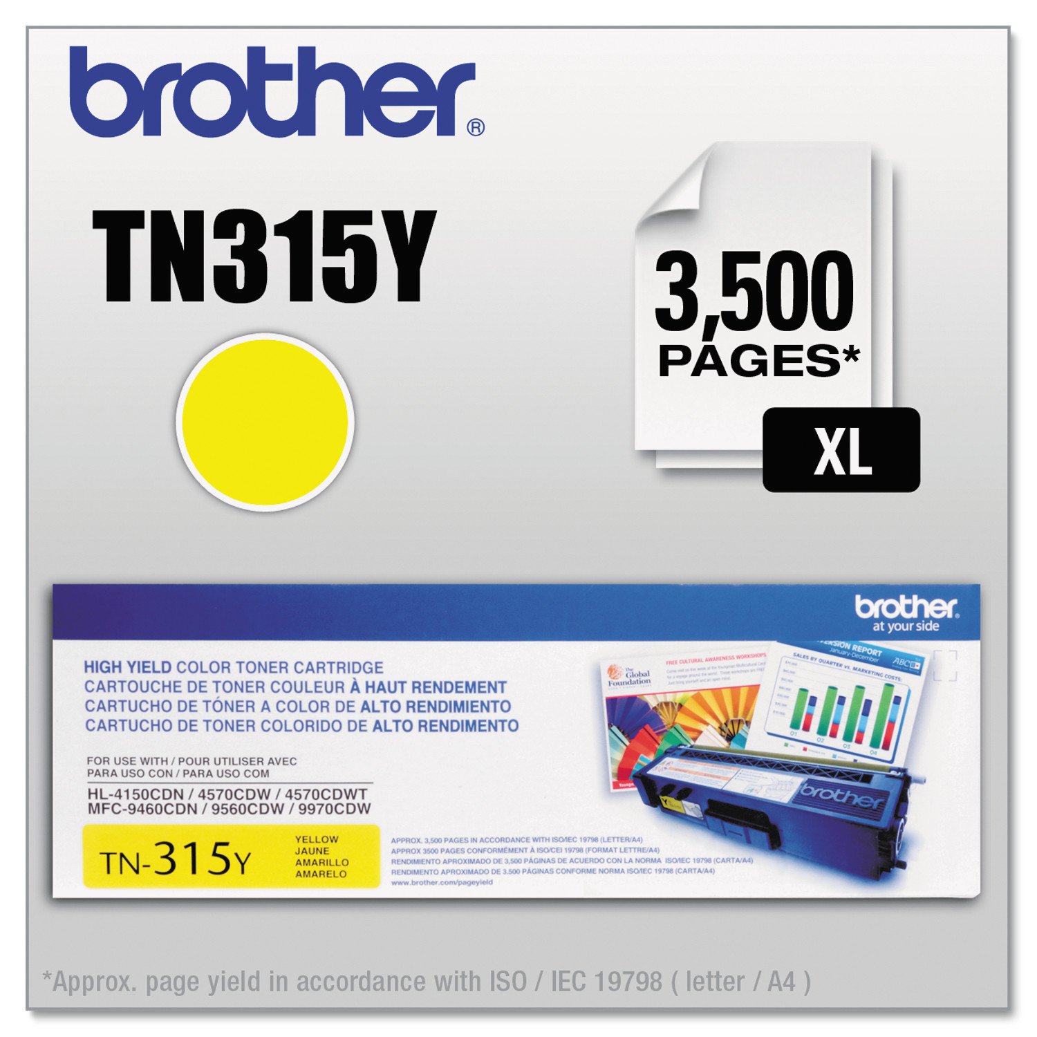 Brother TN315Y (TN-315Y) High-Yield Yellow Toner Cartridge