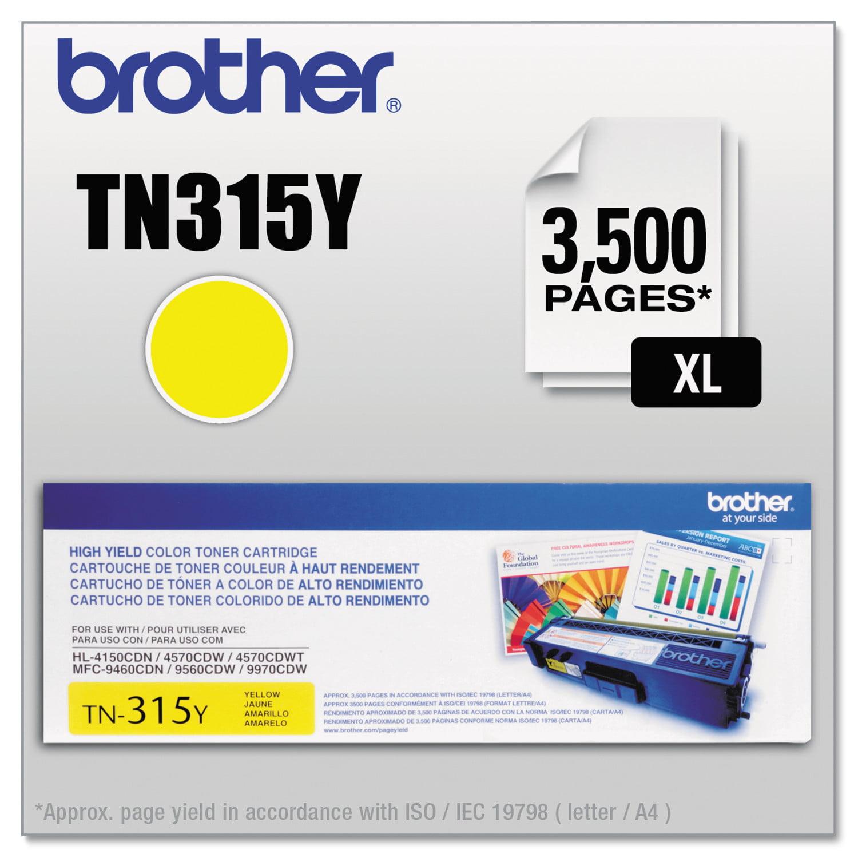 Brother TN315Y (TN-315Y) High-Yield Yellow Toner Cartridge