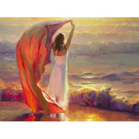 Ocean Breeze Painting of Woman on Beach in Sunset Print Wall Art By Steve Henderson ()