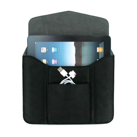 Leather Tablet Sleeve With Pouch For Ipad 1   2  Kindle  Kindle Fire  Nook   Black