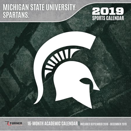 Michigan State Academic Calendar 2019 2019 12X12 TEAM WALL CALENDAR, MICHIGAN STATE SPARTANS   Walmart.com