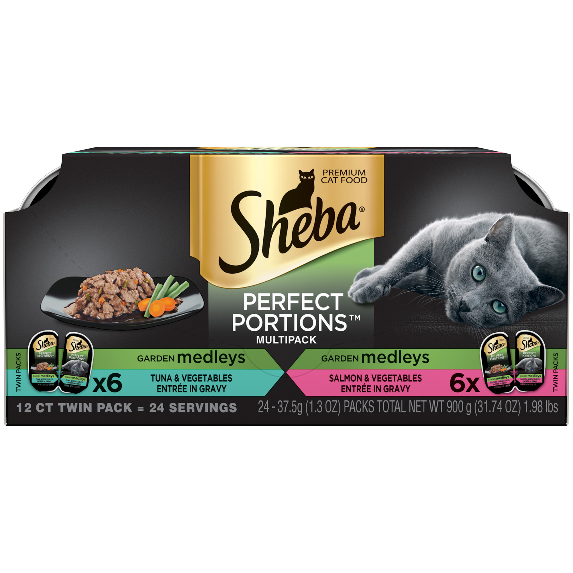 Sheba Perfect Portions Garden Medleys Wet Cat Food, Tuna And Vegetables & Salmon And Vegetables Multipack, 2.6 Oz (12 Twin Packs)