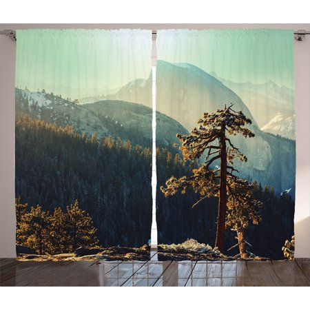 Nature  Curtains 2 Panels Set, Yosemite National Park From the Top of Mountain Misty Morning Landscapes Photo, Living Room Bedroom Decor, Teal Brown, by