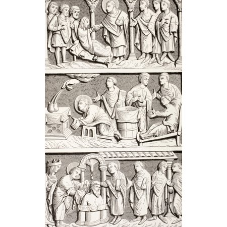 Saint Remigius Remy Or Remi Top Saint Remigius Healing A Paralytic Middle Saint Remigius Healing A Sick Person By Invoking The Sacrament On The Altar Bottom Saint Remigius Assisted By A Saintly Bishop