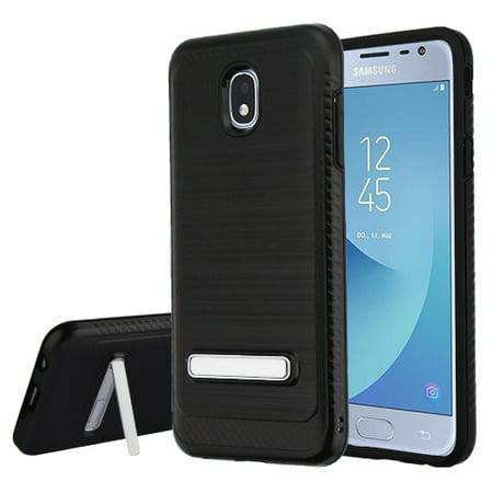 - Samsung Galaxy J3 2018, J337, J3 V 3rd Gen, J3 Star, J3 Achieve, Express Prime 3 Phone Case Slim Tuff Hybrid Rubber Silicone Shockproof Dual Layer Hard TPU Rugged Thin Stand Cover - Black