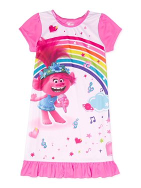 Trolls Girls Short Sleeve Pajama Nightgown, Sizes 4-10